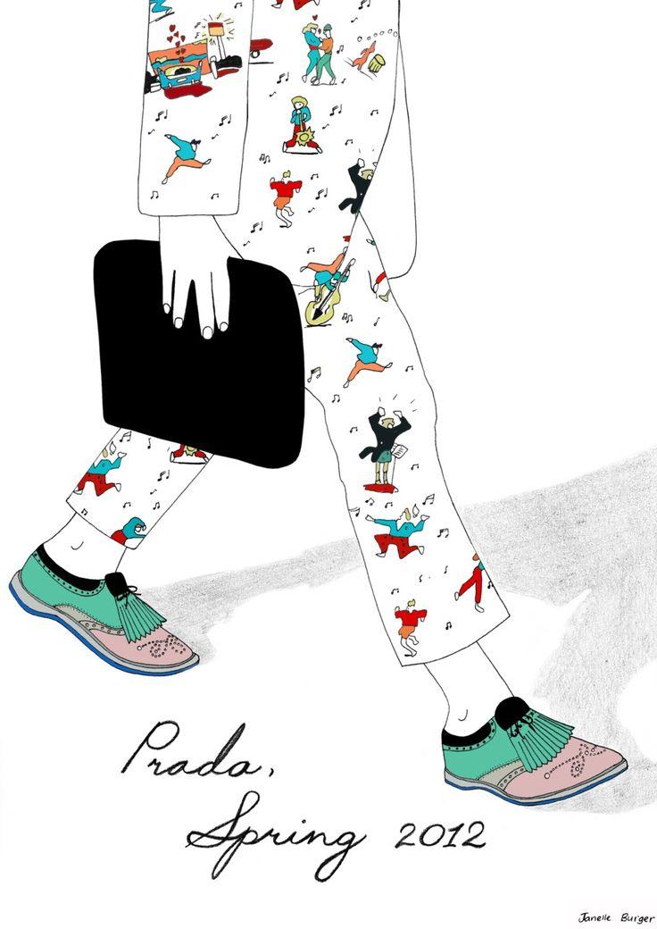 プラダの2012春モデルのスケッチ。かわいいなw(via Prada Menswear. Spring 2012)