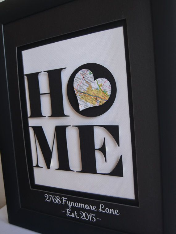 Unique Housewarming Gift New Home Address Art by BloomingDoorDecor