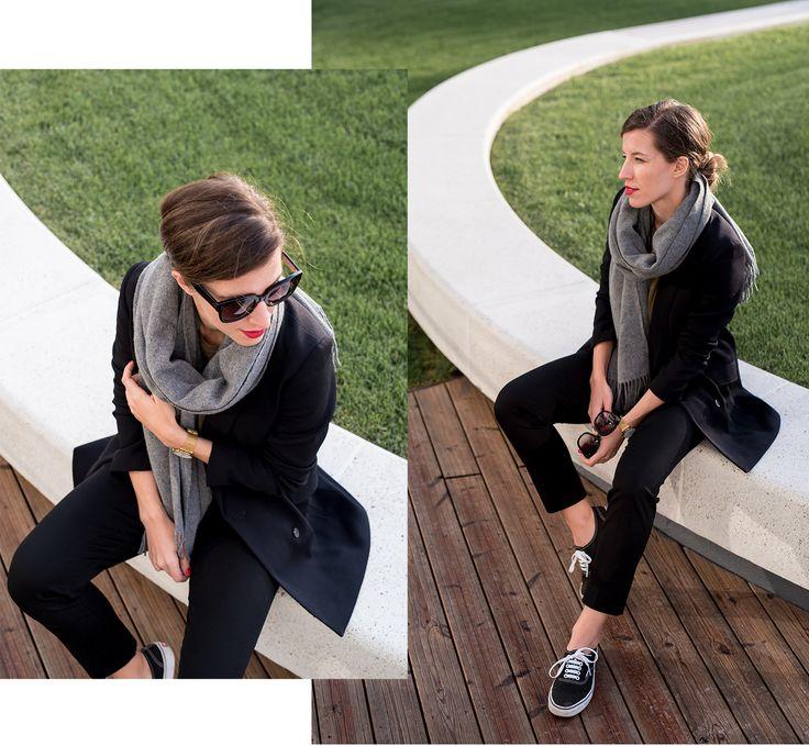 Blazer: H&M | Tee: Zara | Trousers: GAP | Sneakers: Vans | Scarf: Acne Studios | Watch: Larsson & Jennings.