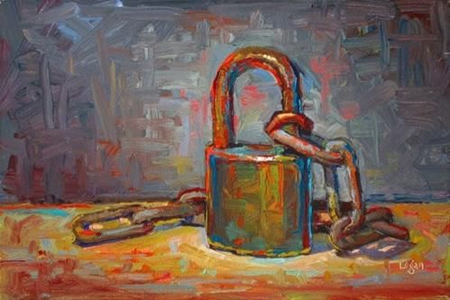 """Lock and Chain"" - Original Fine Art for Sale - © Raymond Logan"