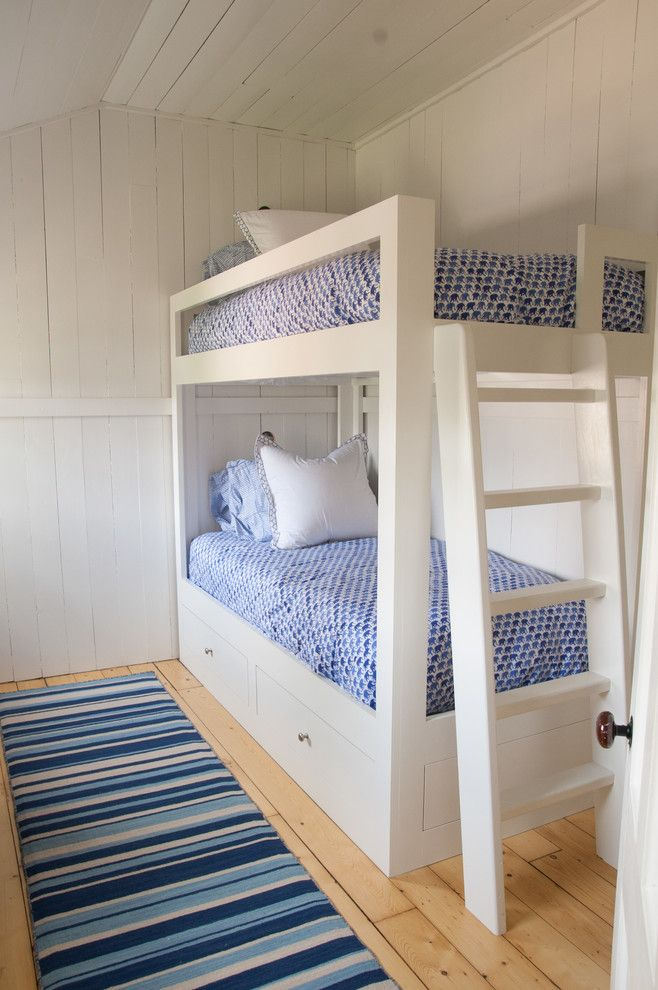 Bunk Room: Other Metro Beach Style Kids Innovative Designs with bamboo roman shades beach cottage beach home blue bedding blue striped rug blue stripped
