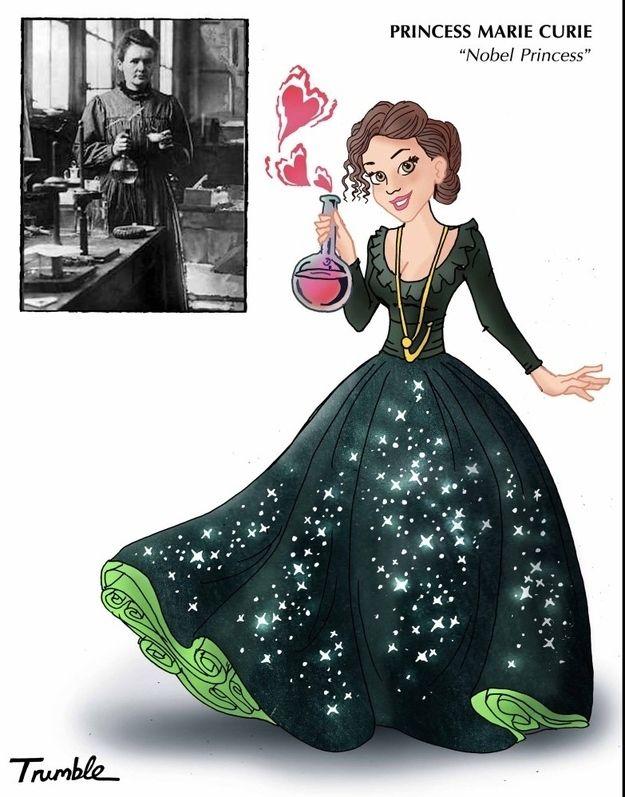 Marie Curie / If Rosa Parks And Hillary Clinton Were Disney Princesses via Artist David Trumble (via BuzzFeed)