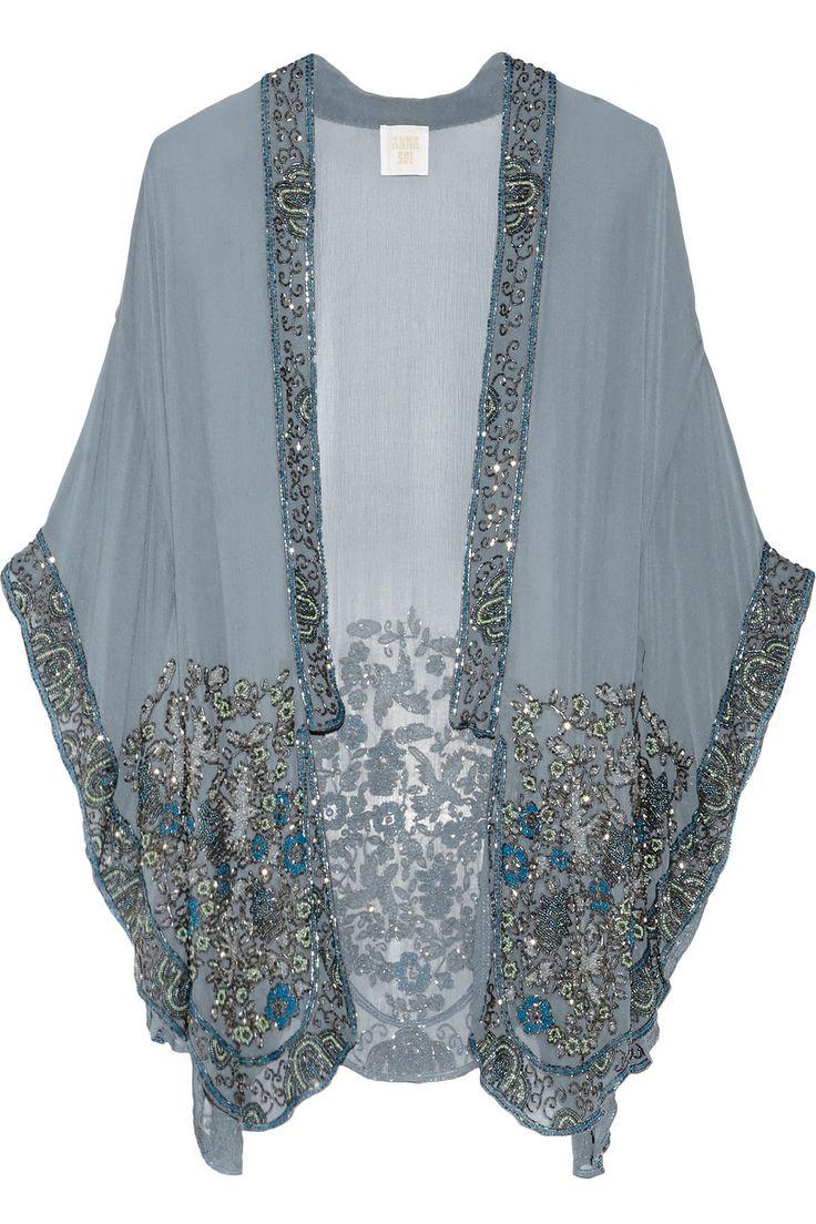 Anna Sui|Embellished silk-chiffon kimono jacket|NET-A-PORTER.COM