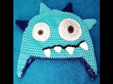 Ellis Monstermütze mit Ohrenklappen häkeln Schachenmayr Baby Super Soft - YouTube