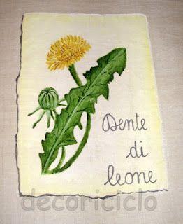 """pergamena con dente di leone, particolare della tovaglia """"Erbario"""""""