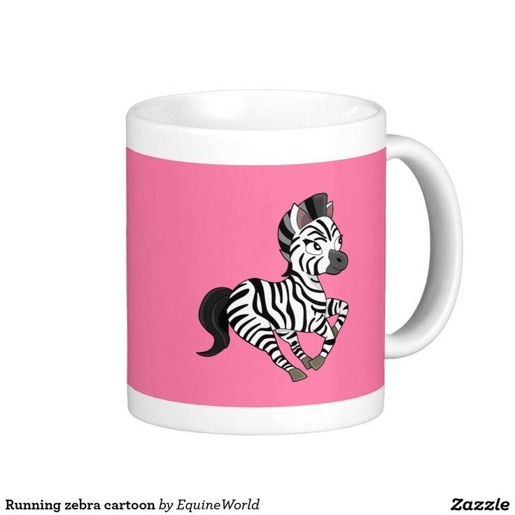 Running zebra cartoon classic white coffee mug