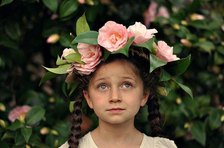 Foxs Lane - camellia floral crown and a springtime fairy.