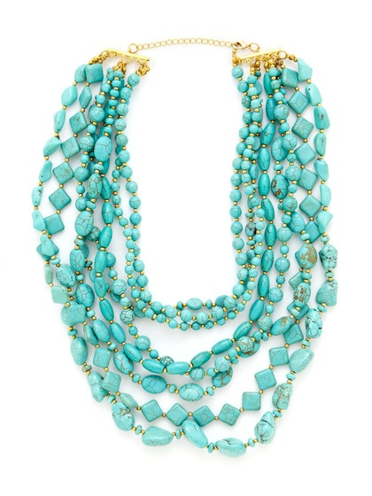 Kenneth Jay Lane Turquoise Bead Multi-Tier Bib Necklace