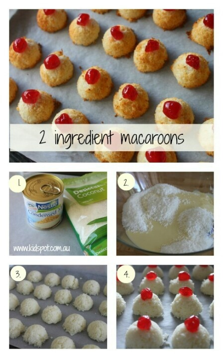 Coconut macaroons.  Desiccated coconut and condensed milk with cherry on top. So easy!