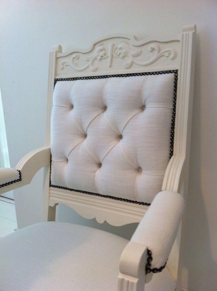 Deep buttoned handpainted Edwardian Chair by www.lamaisonvintagebycarol.com