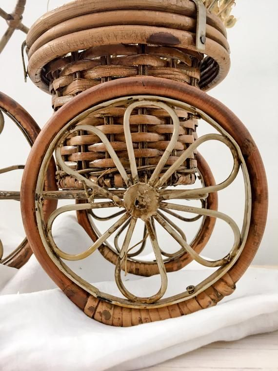 Vintage Bamboo Wicker Resin Tricycle Planter Bicycle Plant 400 x 300