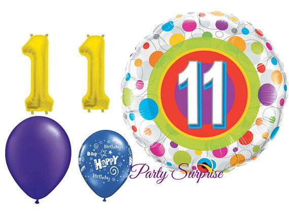 11th Birthday Balloon Pack Years 11 Year Old Party Baloon Boy Girl Gold Number Kids In 2018
