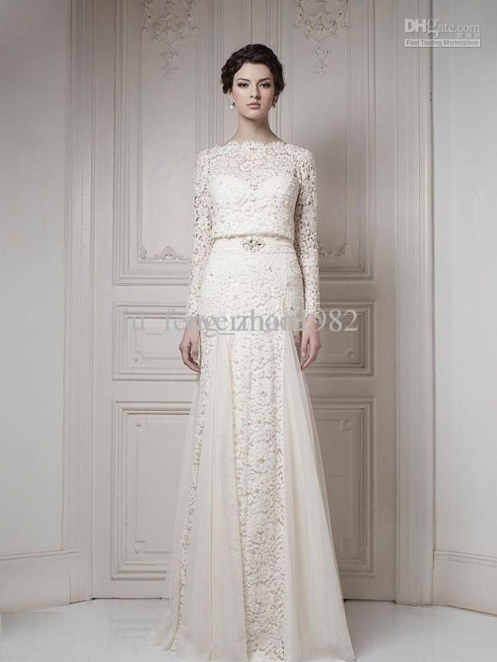 Wholesale Best Selling Bateau Ivory/White A-line Long Sleeves Sash Cool Muslim Lace Bridal Gown 2013 Wedding Dresses, Free shipping, $179.2-199.36/Piece | DHgate
