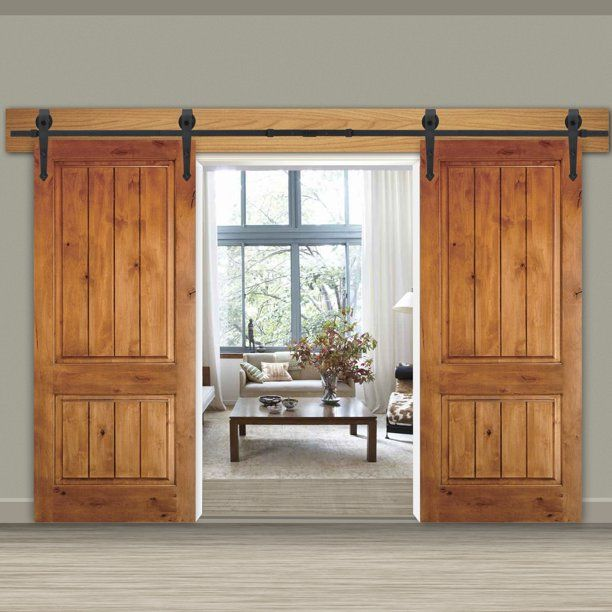 Zeny 12ft Double Door Sliding Barn Door Hardware Kit Smoothly And Quietly Easy To Install Double Track Kit System Heavy Duty Walmart Com In 2020 Sliding Barn Door