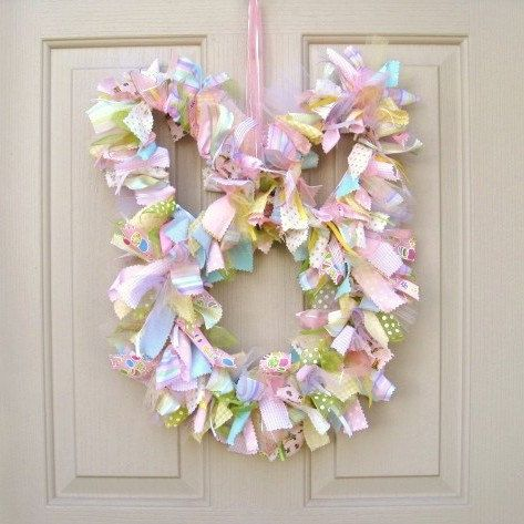 Easter Wreath - Easter Bunny Wreath - Easter Decor - Spring Wreath - Easter Decoration - Ribbon Wreath - Fabric Wreath. $75.00, via Etsy.- could make using wire coat hangers!!!