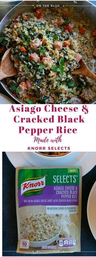 Asiago Cheese and Cracked Black Pepper Rice with Ham. Packed with mushrooms, carrots, kale and ham, this dish is so delicious and the perfect way to revamp your holiday leftovers! #ad