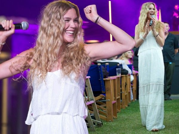 Joss Stone performs at The Henley Festival in floaty white ensemble