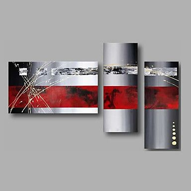 Ready to Hand Stretched Hand-Painted Oil Painting Three Panels Canvas Wall Art Modern Red Grey Abstract 4651864 2016 – $97.80