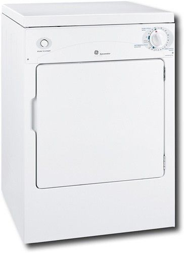 GE - Spacemaker 3.6 Cu. Ft. 3-Cycle Portable Electric Dryer - White