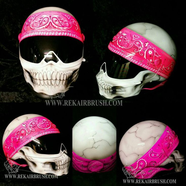 SIMPSON HELMET FOR WOMEN HOT Pink SKULL with bandana airbrush by WWW.REKAIRBRUSH.COM