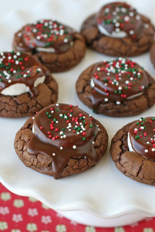 These delicious Hot Cocoa Cookies are chewy, chocolaty and oh so cute! They're perfect for a cookie exchange, or just for a yummy treat!