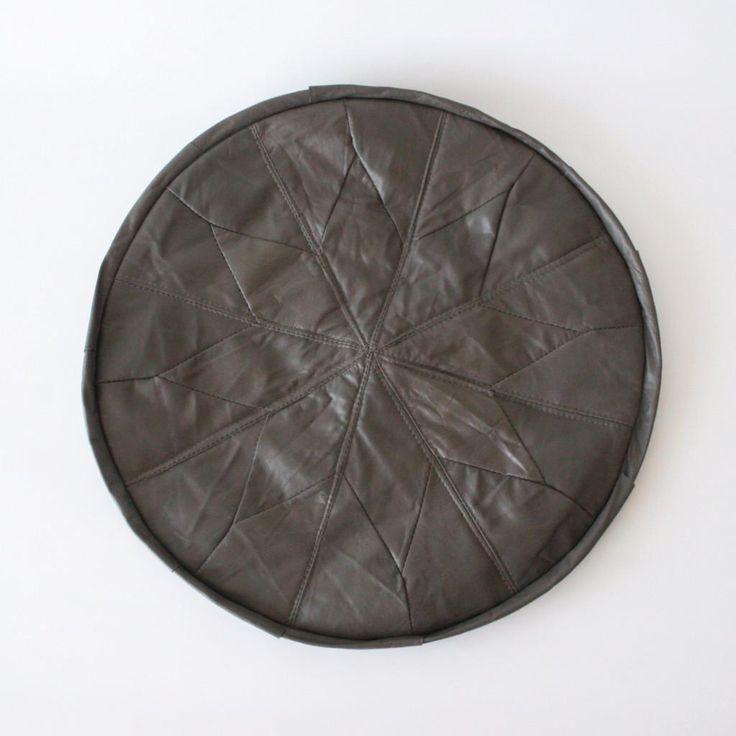 Dark Brown Patchwork Turkish Leather Pouffe