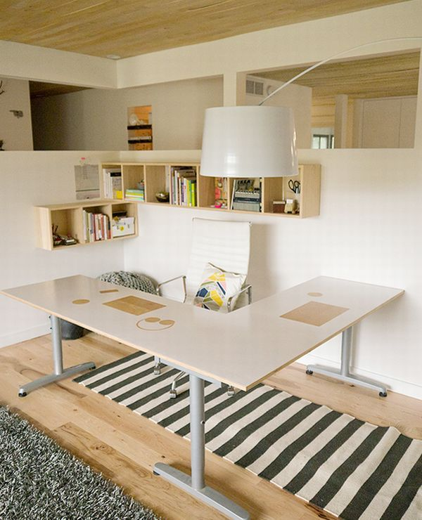 Beautiful And Ergonomic Home Office With Small Storage Space With Sectional Desk And Striped Carpet And