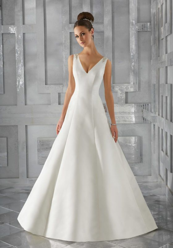 Simple And Elegant This Duchess Satin A Line Bridal Gown Features Diamante Beaded Embroidery Along The Shoulders Down Open Back