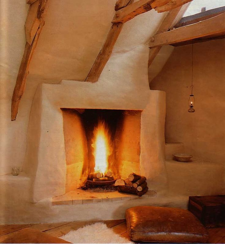 Cob fireplace.