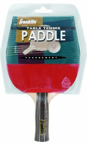 Franklin Sports Table Tennis Tournament Paddle by Franklin. $9.72. Our Franklin Sports Table Tennis Tournament paddle features a 5-ply poplar plywood handle with pips out on one side and pips in on the other. It also has 1.5 mm sponge backing, colorful tapered edges and a premium laminated anatomically shaped handle.