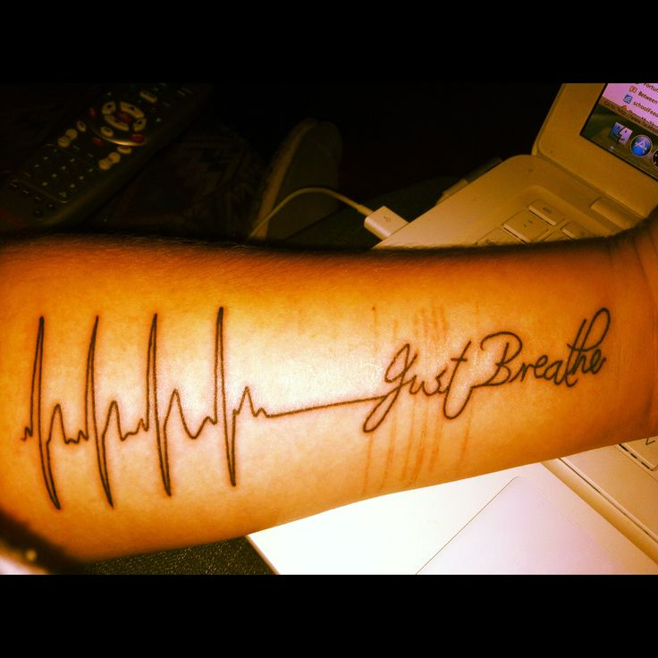 My first tattoo is an ekg that says just breathe it for Infinity sign tattoo cover up
