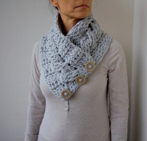 Crochet Scarf Pattern With Button : Crochet PATTERN button cable cowl, women neckwarmer, loop ...