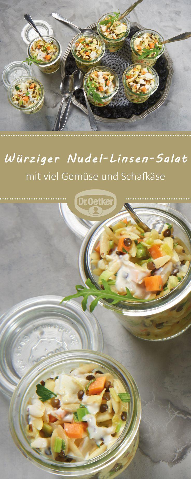 Würziger Nudel-Linsen-Salat: Reis-Nudelsalat mit viel Gemüse und Schafkäse