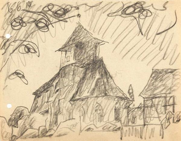 LYONEL FEININGER - Possendorf Bleistift auf Papier. (19)19. Ca. 16 x 20,5 cm. Datiert [...], Modern & Contemporary Art à Karl und Faber Auktionen