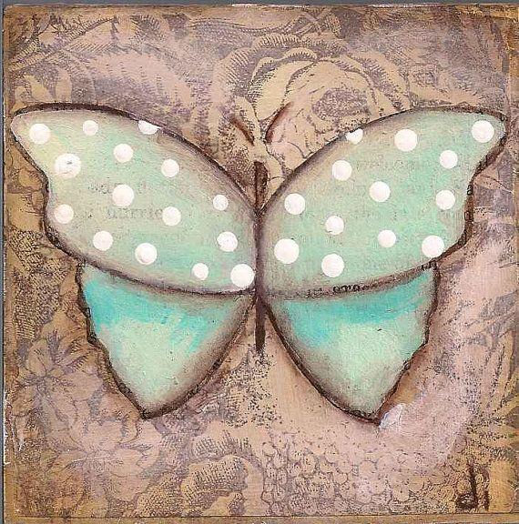 Original Mini  Butterfly Painting on wood block  by DUDADAZE.