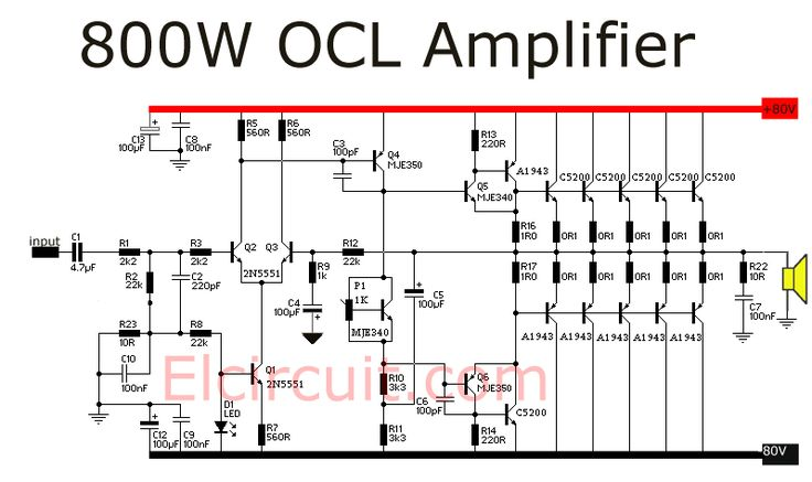 2000w Power Amplifier Circuit Diagram Nissan Pulsar Wiring N15 800 Watt Ocl   Diagram, Electronics Projects And Arduino