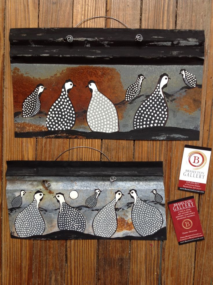 Folk art guinea hens painted on rusted tin by Debra Swantek.