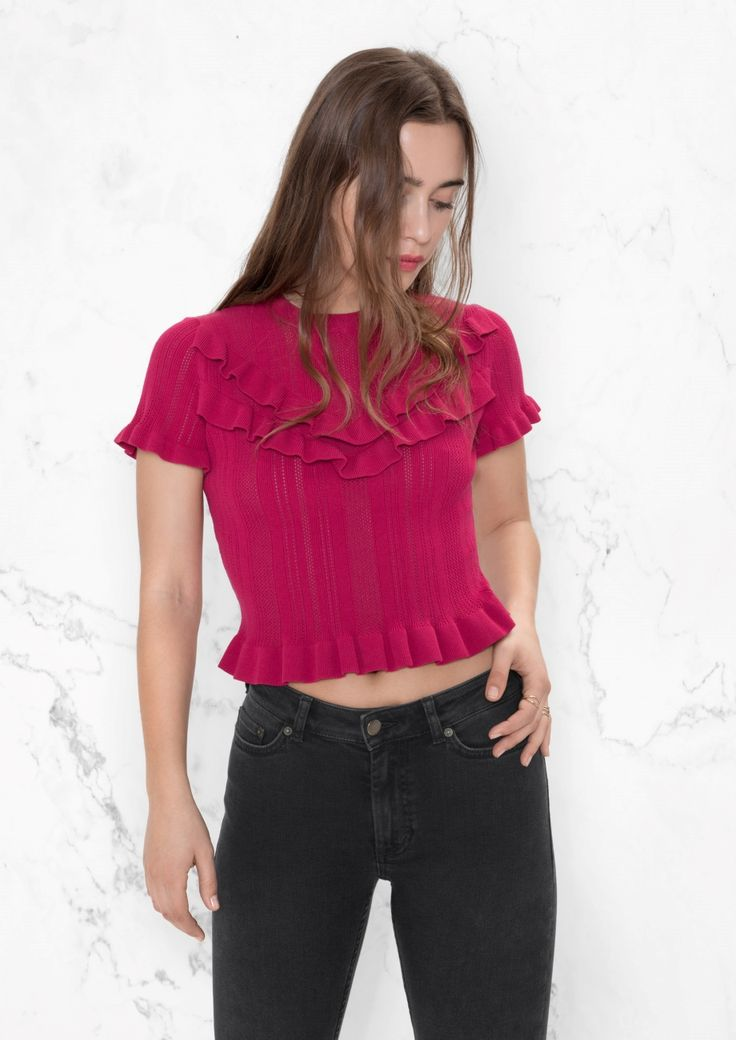 & Other Stories image 2 of Frill Top in Pink