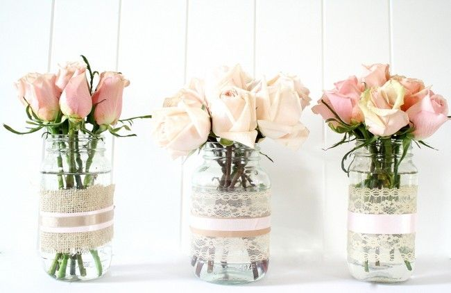 Jam jar rose vases DIY Bottle vase garland how to display flowers without a vase. no-vase flowers. amazing flower arrangement arranging ideas for valentines day mother's day.