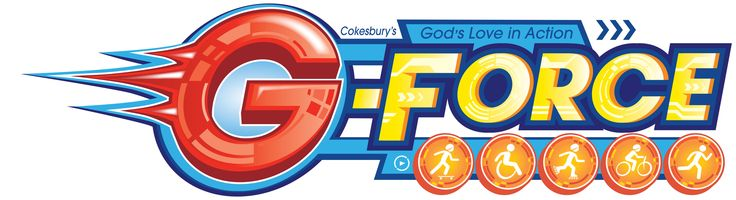 Logo for G-Force! Fuel Up...Wheels Up..Get in motion! www.cokesburyvbs.com