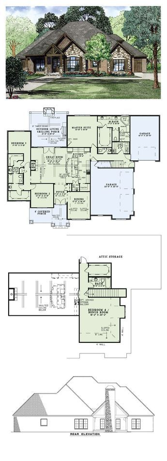 change 1 car garage to 2 car, convert 2-car one into large living space/library area, open bedroom 2, etc into main bathroom and kitchen area, make foyer long instead of deep. dining area can become study, connected to library. second floor extended over garage, play room/storage areas over bedroom 3 area