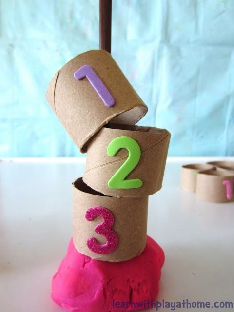 Learn with Play at home: Number Recognition & Ordering with Paper Tubes. Playful Maths