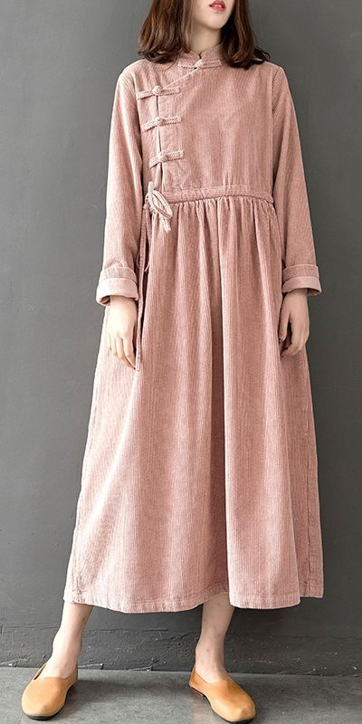 Loose Vintage High Waist Corduroy Maxi Dresses For Women Q28014