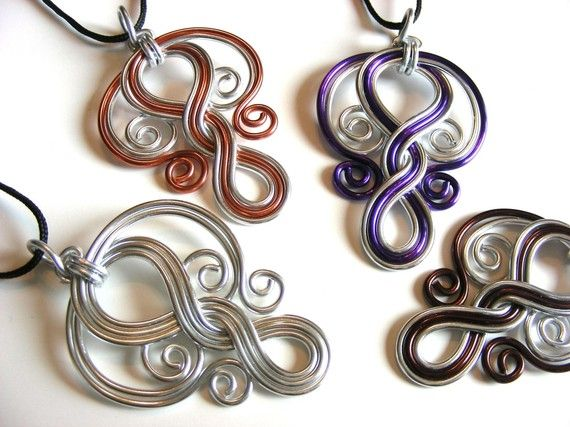 love the use of colored wire in these pendants by refreshingdesigns on etsy