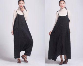 grijze linnen maxi dress broekeen broek een jurk zwart door dongli