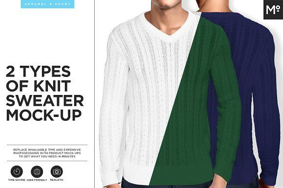 2 Types Knit of Sweater Mock-up by Mocca2Go/mesmeriseme on @creativemarket