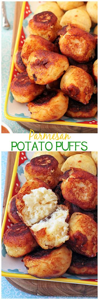 Parmesan Potato Puffs | Crispy outsides give way to creamy puffy middles that melt in your mouth! Plus my secret fry dipping sauce. cinnamonspiceandeverythingnice.com