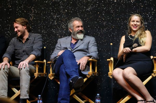 """Mel Gibson Photos Photos - (L-R) Actor Luke Bracey, director Mel Gibson, Teresa Palmer, attend Australians In Film Presents """"Hacksaw Ridge"""" Screening and Q&A at Ahrya Fine Arts Movie Theater on October 21, 2016 in Beverly Hills, California. - Australians in Film Presents 'Hacksaw Ridge' Screening and Q&A With Mel Gibson and Andrew Garfield"""