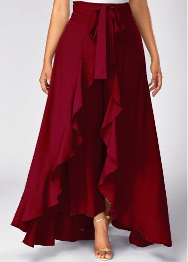 Zipper Side Tie Waist Wine Red Overlay Pants