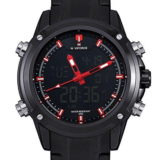 Militar Relojes deportivos, Hombre Big Face Ejército Infantería de Marina de campo Analog Digital multifunción acero Boyfriend Aviator